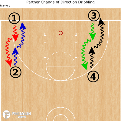 Basketball Play - Partner Change of Direction Dribbling